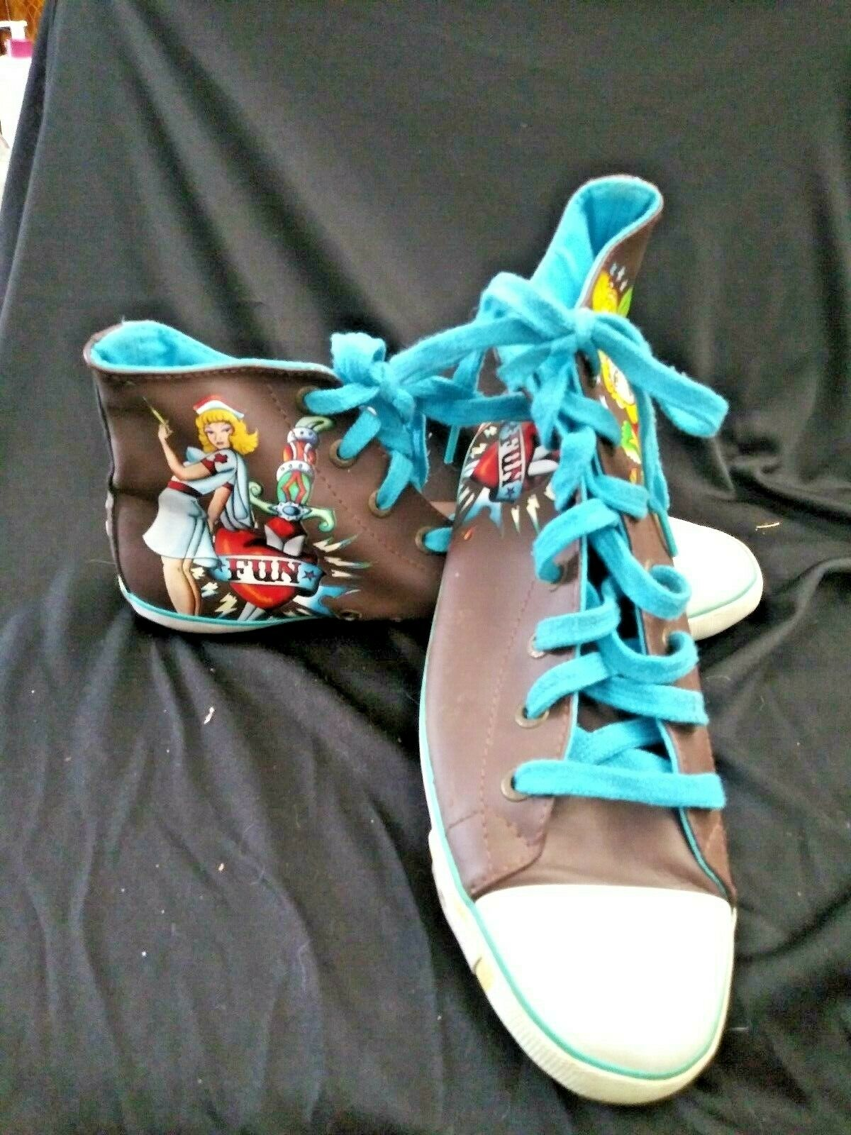 Ed Hardy hightop Sneaker Womens Size 9. lace up old school flash tattoo pattern
