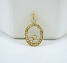 Early Chopard LUC 18k Gold .36TCW Happy Diamond Oval Pendant G / VS