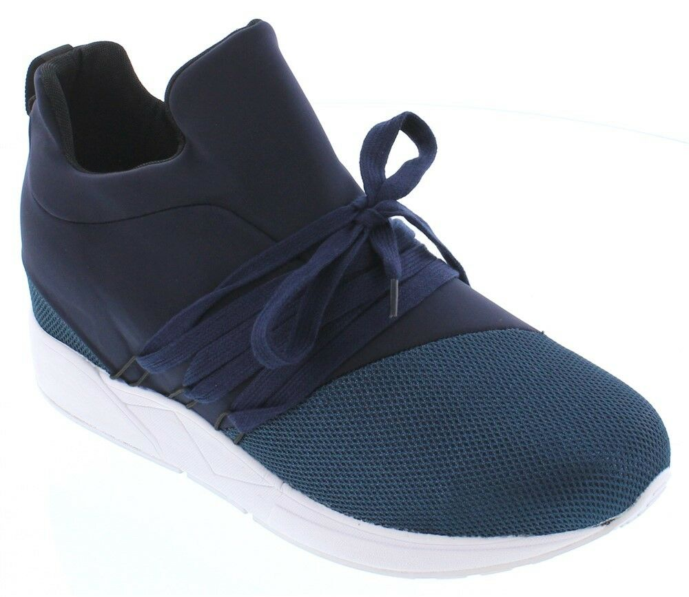 CALTO H7197 - 3 Inches Elevator Height Increasing Slip On bluee Sneaker w Laces