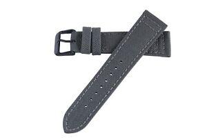20mm-Herren-grau-Cordura-Canvas-Watch-Band-Strap-schwarz-PVD-Dornschliesse-ms850