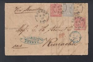 BDP Letter 1869 Bremen to India India Pakistan Karachi