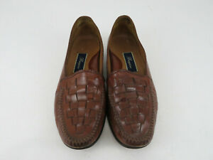 Bragano-Woven-Weave-Slip-on-Loafers-Mens-Size-10M-Brown-Made-in-Italy