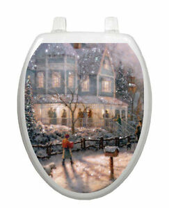 Details about Toilet Tattoos Lid Decor Christmas Scene Glistening Snow Vinyl Removable