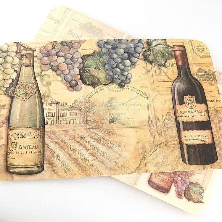 Reversible 4 Set Placemats Vineyards Wine Grapes Bordeaux Chateau Usa Decofoam For Sale Online