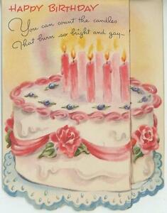 Vintage Happy Birthday Cake Pink Rose Candles Cherub Angel Pop Up