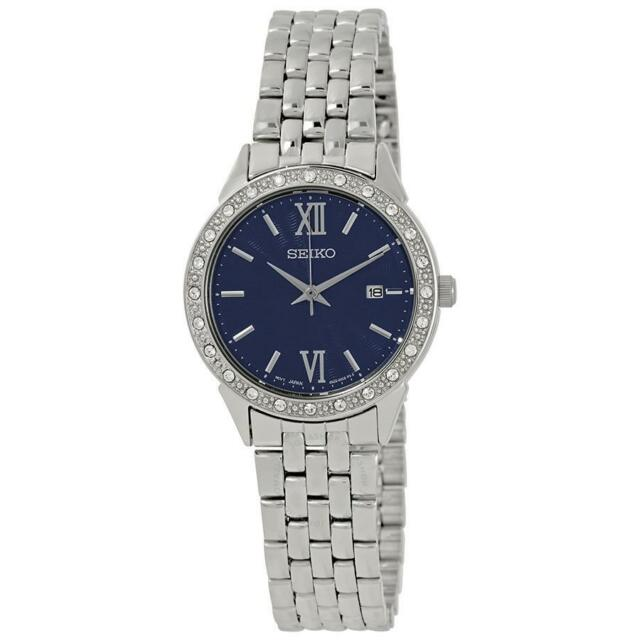 Seiko SUR691P1 Ladies Swarovski Crystal Set Blue Dial Date Dress Watch RRP £230