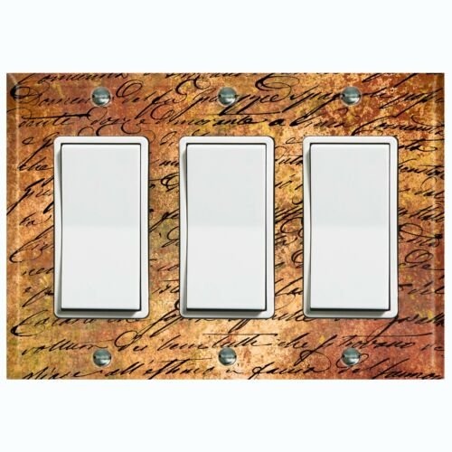 Metal Light Switch Cover Wall Plate Rust Metal Letter Scripture LET001