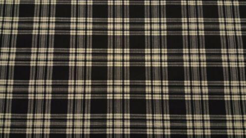 """102/"""" Extra Ancho Negro y Crema de tela de cuadros escoceses Percal láminas por la yarda"""