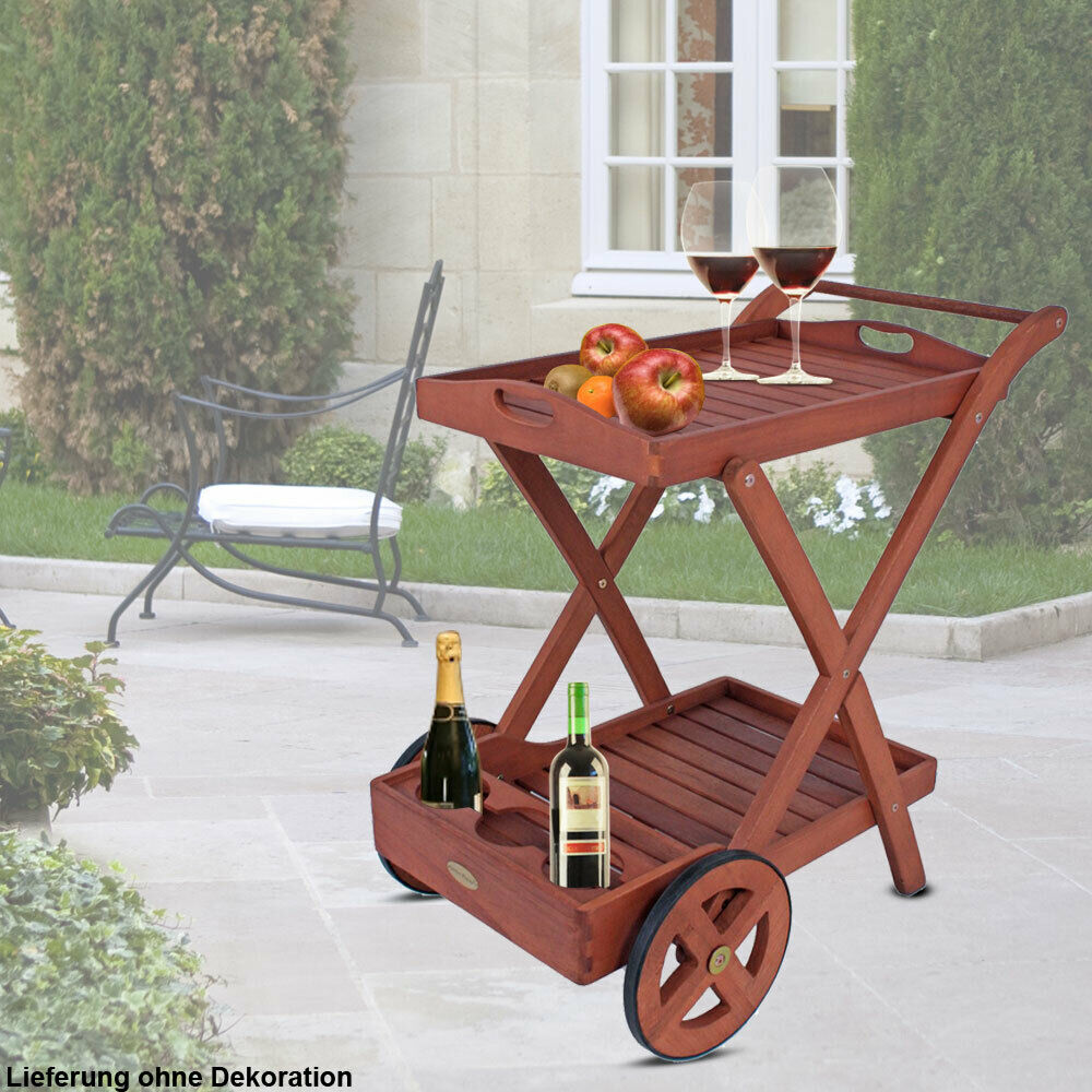 Robusto carrito de té madera mobiliario sala de estar mesa auxiliar altura 80 cm bandeja