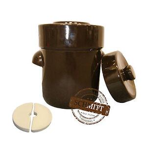 100% De Qualité Pot à Choucroute En Grès Pour La Lactofermentation 3 Litres Brun Braun