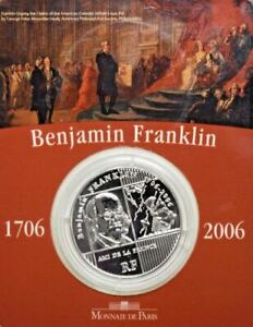 2006-BENJAMIN-FRANKLIN-300th-Anniversary-1-4-Euro-22-2g-Silver-Proof-Coin
