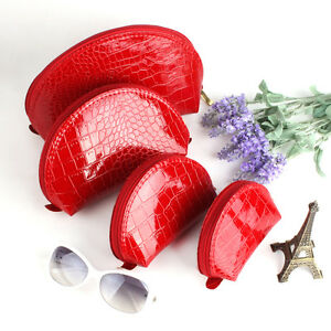 Set-of-4-Crack-Red-Cosmetic-Make-up-Beauty-Cases-Purse-Toiletry-Pouch-Bag-Gift