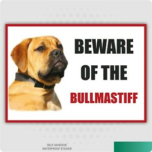 Funny Beware of the BULL MASTIFF Vinyl Car Van Decal Sticker Animal Lover