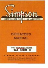 Simpson Model 260 Series Iii Volt Ohm Milliammeter Multimeter Operators Manual