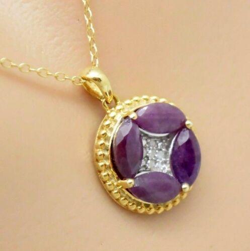 Rubin remolque rubíes /& diamantes 925 Sterling plata