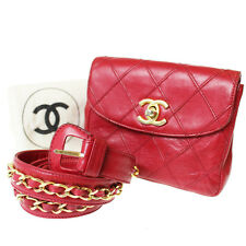 CHANEL Chain Belt Quilted Bum Bag Red Leather Vintage Italy Authentic #8264 W