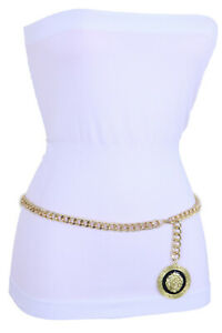 Women-Fashion-Gold-Metal-Chain-Thin-Waisted-Party-Belt-Lion-Charm-Size-XS-S-M
