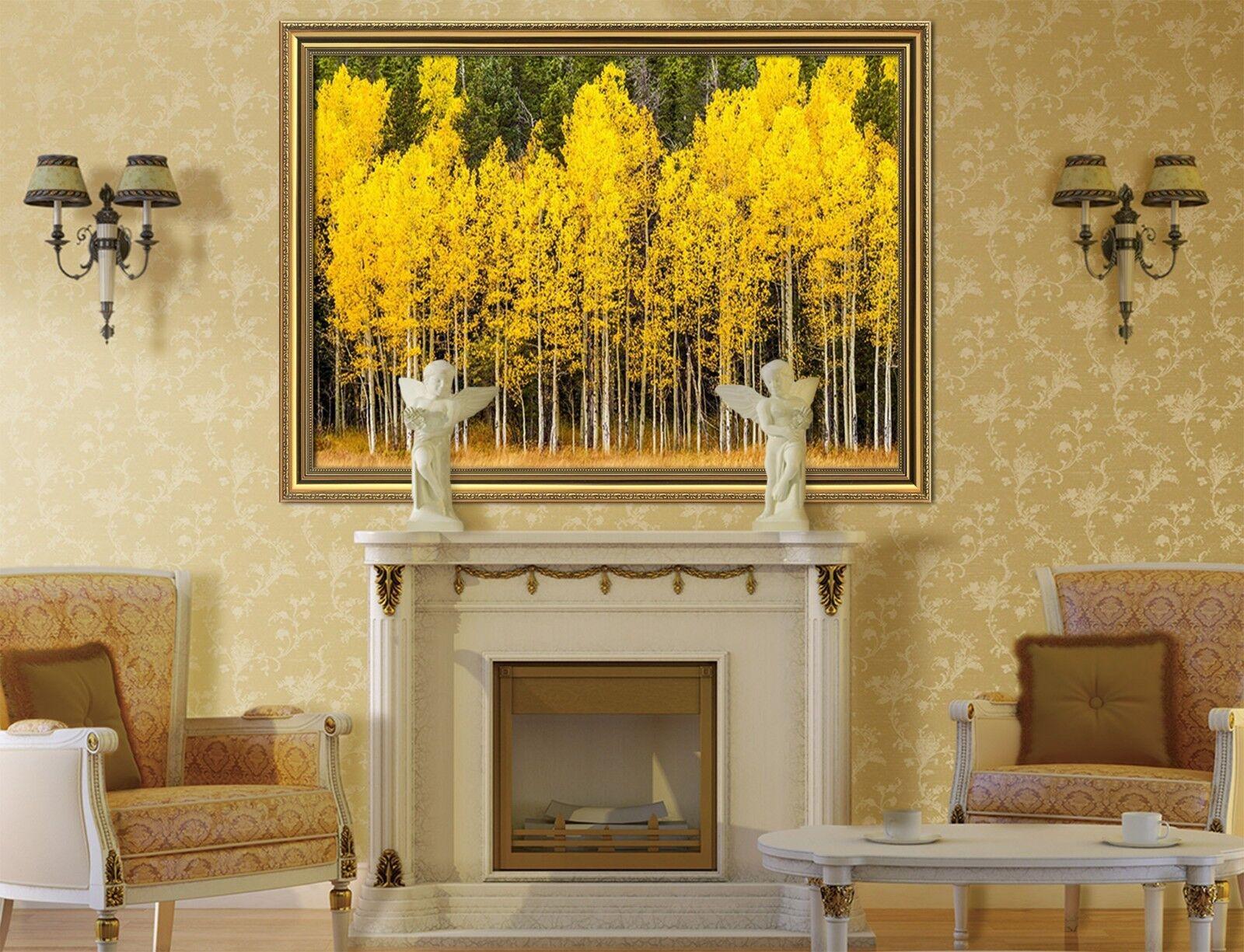 3d jaune forêts 53 Encadré Poster à la maison décor imprimer peinture art AJ de