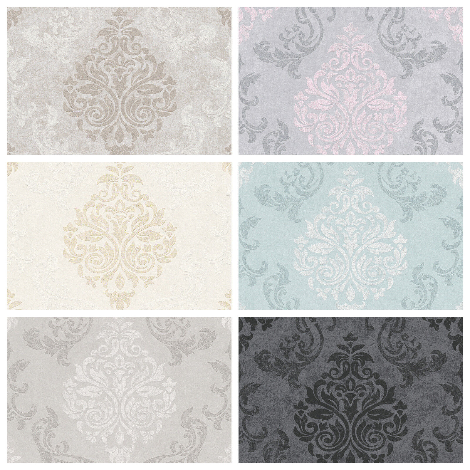 Vlies Tapete Barock Muster Ornament Glitzer Anthrazit Rosa Grau Beige Mint Ebay