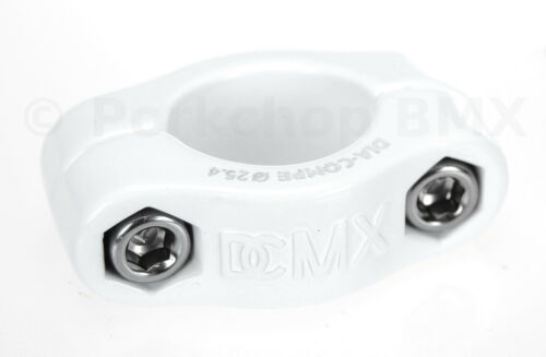 "Dia-Compe MX 2 PIECE old school BMX bicycle seat post clamp 1/"" WHITE 25.4mm"