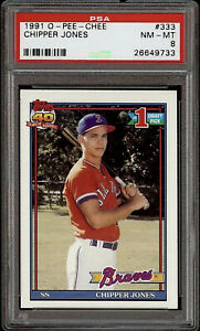 Rare 1991 O-Pee-Chee #333 Chipper Jones Rookie Card RC Braves HOF PSA 8 NM-MT!