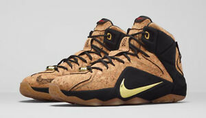 b1304ed70829d Nike MEN S LEBRON XII EXT CORK Natural Black Metallic Gold SIZE 7.5 ...