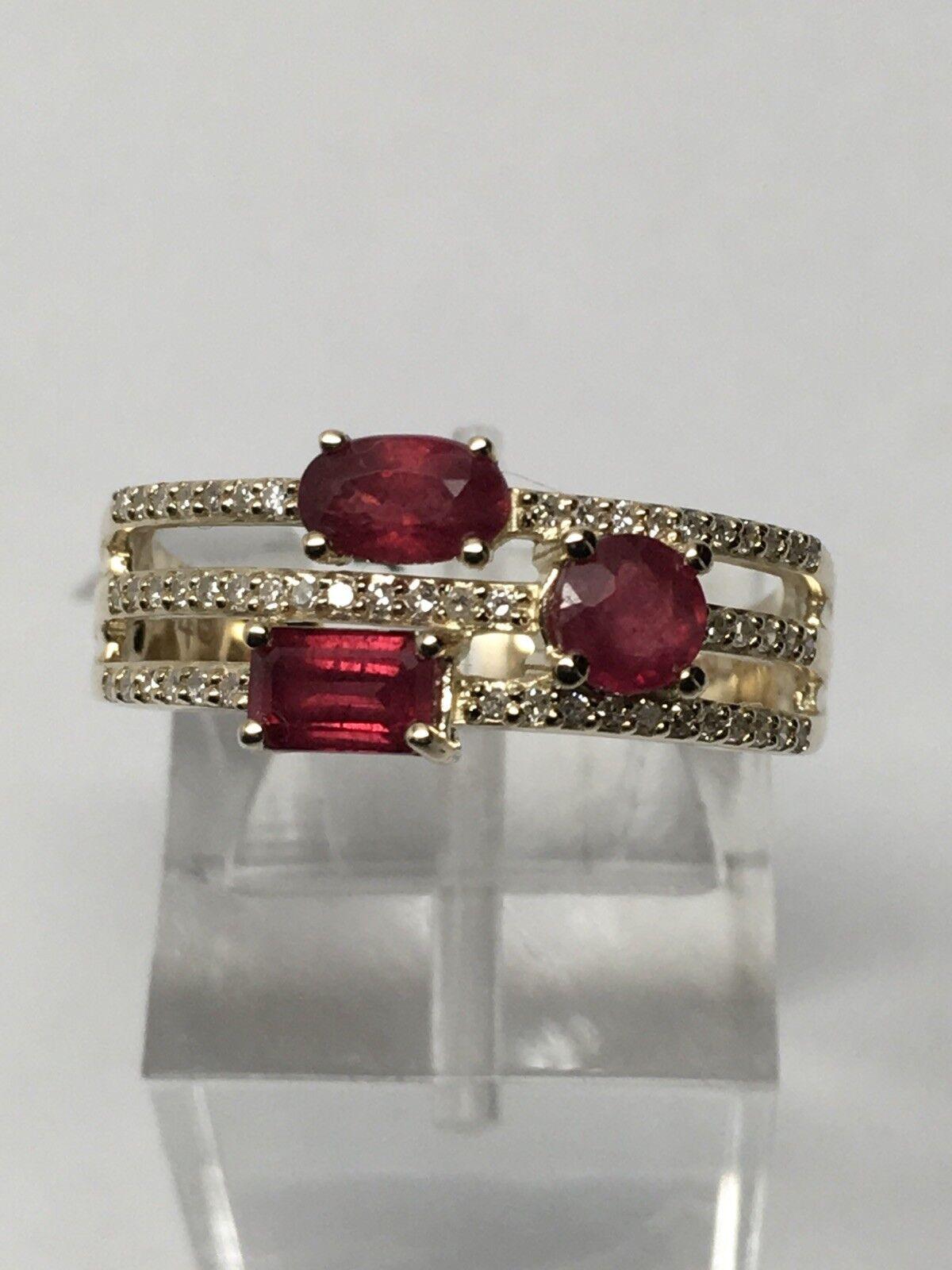10K Yellow gold Multi Shape Ruby Gemstone and 0.18ct Diamond Ring May Size 7
