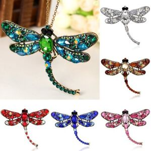 Women-Retro-Crystal-Dragonfly-Necklace-Brooch-Pin-Pendant-Long-Chain-Jewelry-Hot