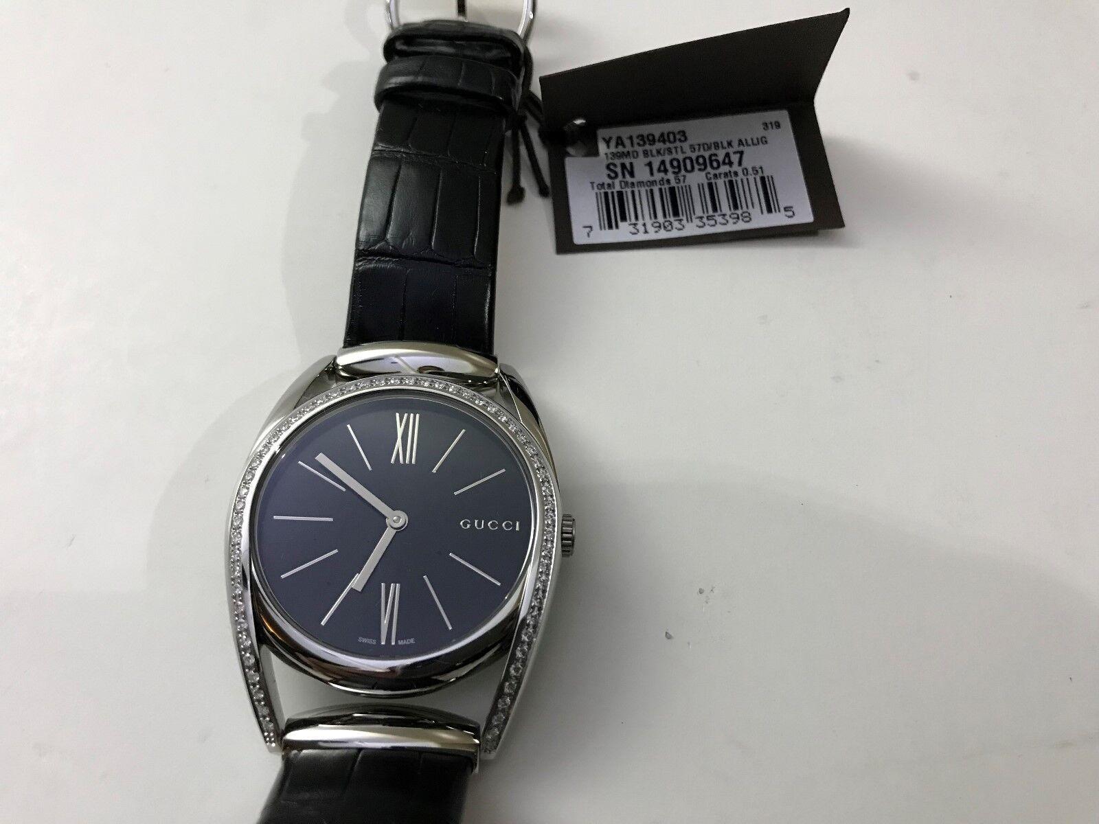 698916c72d8 Gucci YA140506 Horsebit Quartz Stainless Steel and Leather Black ...