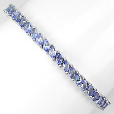 Sterling Silver 925 Marquise Genuine Natural Tanzanite Tennis Bracelet 7.5 Inch