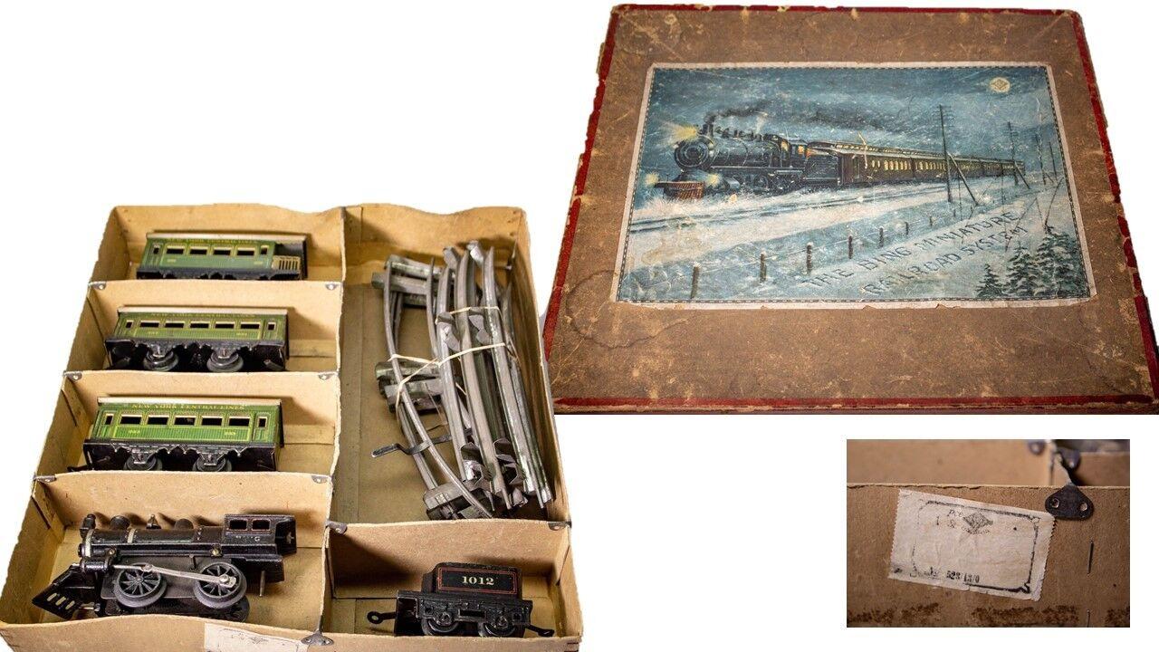 Vintage Americano Mercato Bing 0-GAUGE Ghisa in Scatola Nyc Fili Set Treno