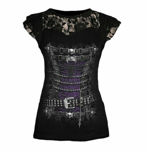 Spiral Direct Waisted Corset Lace Shoulders Womens Steampunk Pirate Top T-shirt