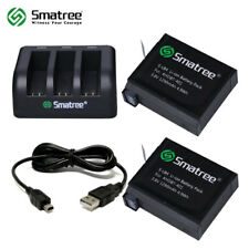 Smatree Replacement battery(2-Pack)+3-Channel charger+USB Cord for Gopro Hero 4