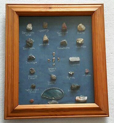 21 X Rocce E Minerali Campioni Set Incorniciato- Per Classificare Prima Tra Prodotti Simili