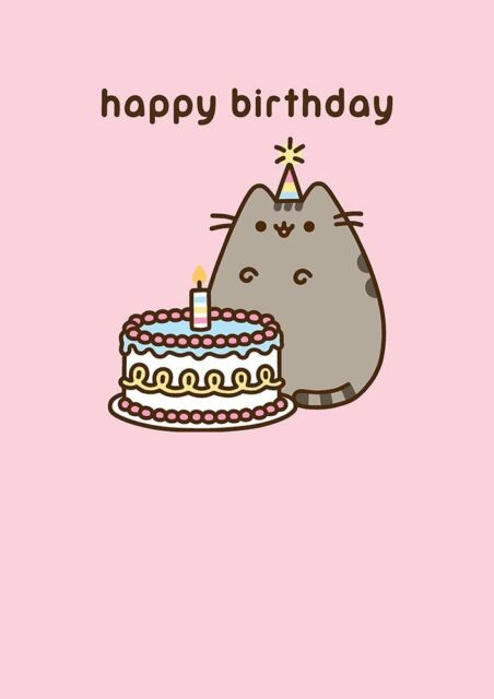 Pusheen The Cat Happy Birthday Cake Greetings Card Blank Inside Ebay