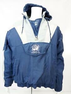 Vintage-Starter-Men-039-s-Georgetown-Hoyas-Hooded-Jacket-Pullover-Blue-White-XL