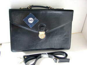 VINTAGE-DP-Design-by-Pristine-NY-Black-Leather-Briefcase-Bag-Horse-Logo-NEW-NWT