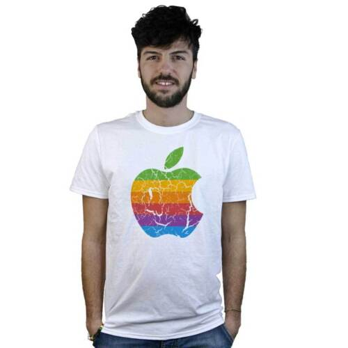 T-Shirt Apple Vintage Apple T-Shirt White with Logo to Effect Spoiled
