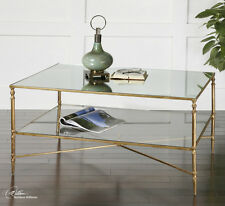 Item 2 HOLLYWOOD REGENCY TRANSITIONAL MIRRORED GLASS GOLD IRON HENZLER COFFEE  TABLE  HOLLYWOOD REGENCY TRANSITIONAL MIRRORED GLASS GOLD IRON HENZLER  COFFEE ...