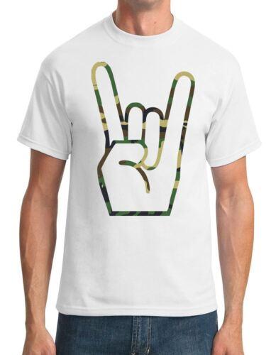 Metal Finger Sign Mens T-Shirt Camo
