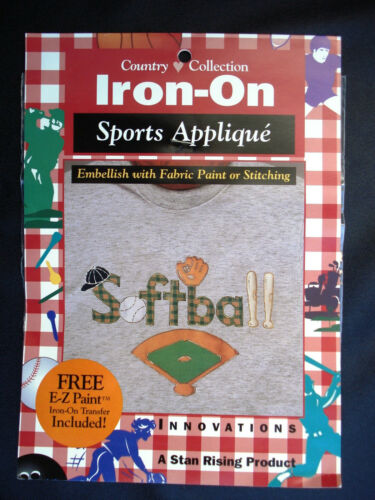 Country Collection Iron-On Sports Applique Softball