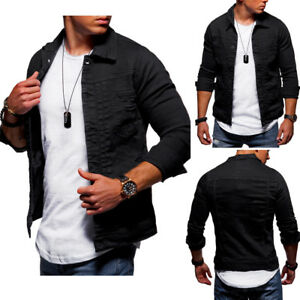 Behype-Jeans-Jacket-Destroyed-Denim-Shirt-Jacket-Jeans-Shirt-Black-Slim-Fit-New
