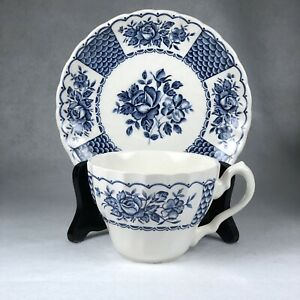 Myott-Melody-Blue-Teacup-Saucer-Set-of-6-English-Staffordshire-Roses-Scalloped