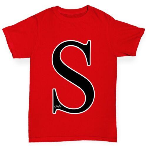 Twisted Envy Boy/'s Alphabet Monogram Letter S T-Shirt