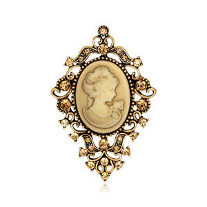 SPILLA-CAMMEO-4x6-5CM-VINTAGE-VICTORIAN-CAMEO-BROOCH-WEDDING-PARTY-PIN-BROACH