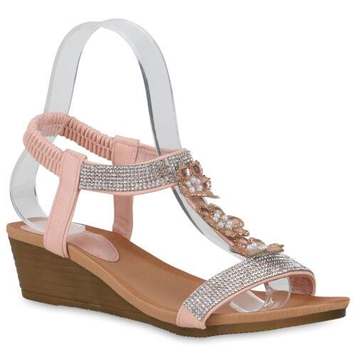 Damen Keilsandaletten Strass Sandaletten Blumen Keilabsatz 822727 Schuhe