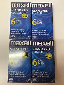 Lot-Of-4-Maxell-VHS-NEW-AND-SEALED-Sold-As-Blank-6-T-120-Videocassette-Tapes