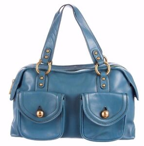 Image Is Loading Marc Jacobs Blue Leather Bag Duffel Dome Satchel