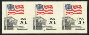 1895d-20c-Flag-Imperf-Plate-4-VF-NH-Strip-of-3