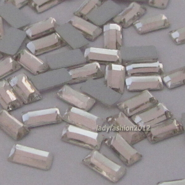 100PCS Clear Rectangle flat back rhinestone nail art cell phone decorations gems